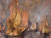 Painting: Boats in flames